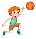 Boy Playing Basketball Alone Royalty Free Stock Photography - 59873177