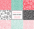 Set Of Seamless Stroke Patterns. Hand-drawn Background. Royalty Free Stock Image - 59878886
