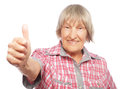 Old Woman Showing Ok Sign On A White Background Stock Image - 59881651