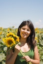 Fun In The Sunflower Field Stock Photo - 5999520
