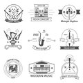 Black And White Music Styles Labels Royalty Free Stock Image - 59916236