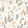 Flowers, Leaves And Berries Pastel Seamless Pattern On White Bac Stock Image - 59918141