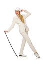 Blond Hair Girl With Walking Stick Isolated On Stock Image - 59925491