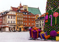 Old Town Of Warsaw With Medieval Houses, Christmas Tree, Gifts. Royalty Free Stock Image - 59925776