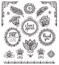 Set Of Ornamental Boho Style Frames And Elements. Royalty Free Stock Photography - 59939037