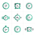 Flat Icon Time Clock Icons Set, Vector Design Royalty Free Stock Images - 59941289