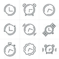 Line Icons Time Clock Icons Set, Vector Design Royalty Free Stock Image - 59946156