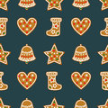 Seamless Pattern With Christmas Gingerbread Cookies - Bell, Xmas Stocking, Star, Heart. Royalty Free Stock Photo - 59951445