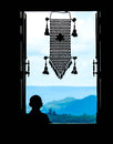Neophyte At Window (in Partial Silhouette) With Thai  Hanging Mo Royalty Free Stock Photo - 59959065