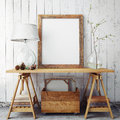 Mock Up Poster Frame In Hipster Interior Background, Stock Photos - 59966803