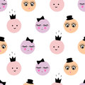 Seamless Pattern With Abstract Cartoon Funny Female Faces With Hat, Crown, Bow On White Background. Stock Photography - 59975162