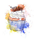 Cupcake Cake With Chocolate. Watercolor Stock Photo - 59979950