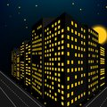 Building Night Scene In Perspective View Royalty Free Stock Photo - 60002995