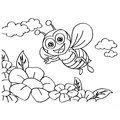 Bee Coloring Pages Vector Royalty Free Stock Photo - 60004415