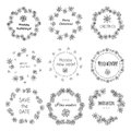 SET Hand-Painted Decorative Frame. Wreaths Snowflakes. Royalty Free Stock Image - 60010746