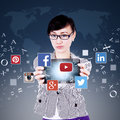 Worker Showing Tablet With Social Network Icon Stock Images - 60015934