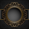 Vintage Gold Circle Frame Over Pattern Stock Photography - 60024372