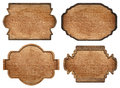 Set Of Brown Wooden Signboard, Plates, Planks And Stock Photos - 60041023