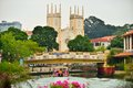 The Malacca River & The Church Of St. Francis Xavier Royalty Free Stock Images - 60043009