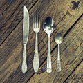 Knife, Fork, And Two Spoons Stock Images - 60048884