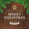 Merry Christmas Vintage Line Art On Wood Background Stock Photos - 60048953