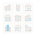 Set Of Vector Building Icons And Concepts In Mono Thin Line Style Royalty Free Stock Image - 60052106