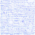 Mathematical Vector Seamless Pattern With Geometrical Figures, Plots And Equations, Handwritten On The Grid Copybook Paper Royalty Free Stock Photography - 60059847
