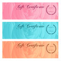 Gift Certificate, Voucher, Coupon, Reward / Gift Card Set Template With Floral Rose Silhouette (flower Pattern). Background Design Stock Image - 60060301