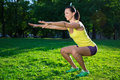 Beautiful Woman Working Out In Park Royalty Free Stock Photos - 60068448