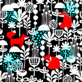 Fox In Winter Forest Seamless Pattern Royalty Free Stock Photography - 60075027