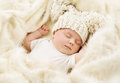 Baby Sleeping, Newborn Kid Sleep In Hat, New Born Girl Royalty Free Stock Photo - 60091475