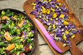 Alkaline, Healthy Food: Salad With Flowers, Fruit And Valerian Salad Stock Photo - 60095770