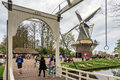 Keukenhof Bridge And Mill Stock Photos - 60105623