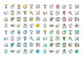 Flat Line Colorful Icons Collection Of Corporate Business Royalty Free Stock Image - 60106266