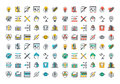Flat Line Colorful Icons Collection Of Graphic And Web Design Stock Image - 60107321