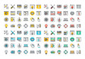 Flat Line Colorful Icons Collection Of Web Design And Development Stock Images - 60107354