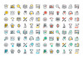 Flat Line Colorful Icons Collection Of E-learning Stock Photos - 60107423