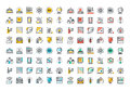 Flat Line Colorful Icons Collection Of Education Royalty Free Stock Photo - 60107445
