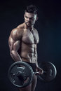 Muscular Bodybuilder Guy Doing Exercises With Big Dumbbell Dumbb Royalty Free Stock Photography - 60108527