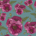 Vector Floral Seamless Pattern With Pink Poppies Stock Photos - 60119853