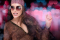 Fashionable Party Girl. Hippie Style. Disco Dancing Stock Photography - 60120622
