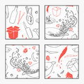 Abstract Hand Drawn Wok Restaurant Elements Poster For Your Design. Doodle Asian Food Stock Photos - 60126993