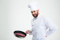 Chef Cook Holding Fresh Meat On Pan Royalty Free Stock Image - 60148886
