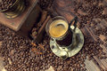 Coffee Cup And Beans, Old Coffee Grinder Stock Photo - 60154550