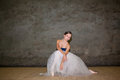 The Beautiful Ballerina Posing In Long White Skirt Royalty Free Stock Photography - 60156797
