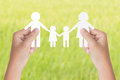 Hand Hold Family Model Over Green Background Royalty Free Stock Photos - 60165578