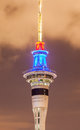 Closeup Sky Tower Under Twilight Sky Background In Auckland, New Royalty Free Stock Photography - 60187837