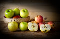 Apple And Basket On Wooden Table, Royalty Free Stock Photos - 60192368