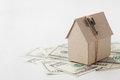 Model Of Cardboard House With Key And Dollar Bills. House Building, Loan, Real Estate, Cost Of Housing Or Buying A New Home Concep Stock Image - 60194511