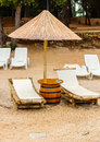 Beach Chair And Umbrella On Sand Beach. Concept For Rest, Relaxation, Holidays, Spa, Resort Royalty Free Stock Photos - 60199498